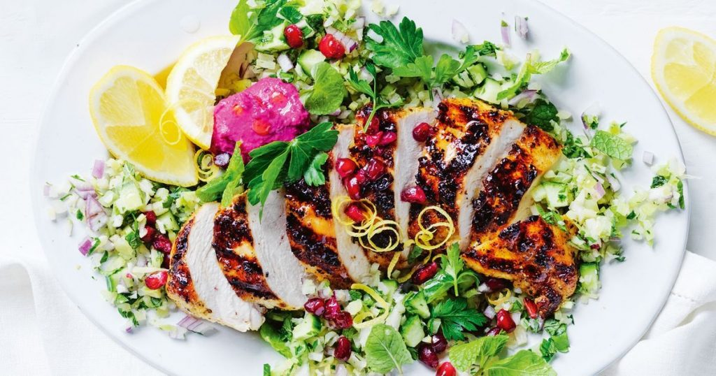 Spiced Chicken or Tofu with Chickpea Tabouli